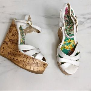 Charlotte Russe White Strappy Cork Wedges Size 8